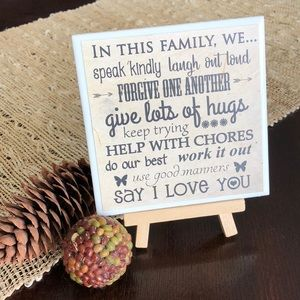 """In This Family"" Home Decor Sign w Stand"